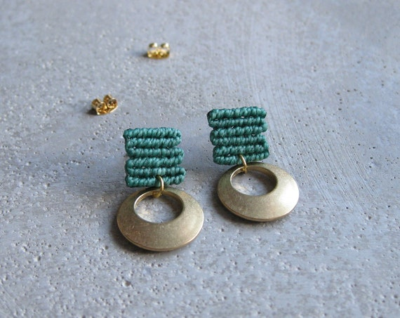 L u a . Stud Earrings in Teal with Circular Brass Adornment . Modern Fiber Textile Jewelry.  © Design by .. raïz ..