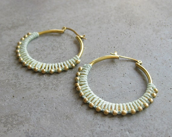 C A L Y P S O . Aqua Brass Hoop Earrings . Fiber Jewelry . Textile Jewellery  © Design by .. raïz ..