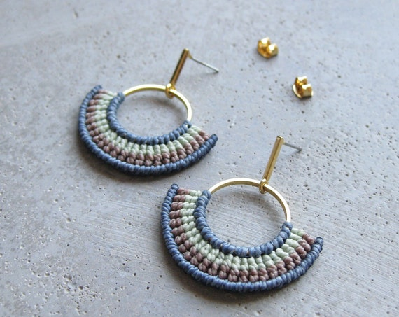 Pastel Textile Gold Hoops Earrings . Fiber Semi Circle Earrings . Geometric Modern Macrame Earrings . Design by .. raïz ..