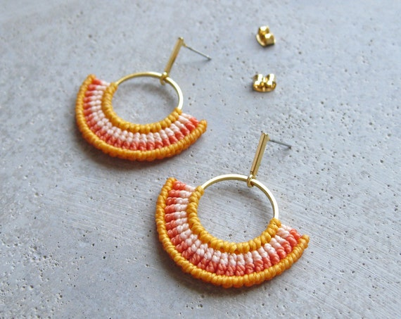 Yellow Earrings Textile Hoops . Gold Filled 16ct .  Fiber Earrings . Semi Circle . Macrame Earrings . Design by .. raïz ..
