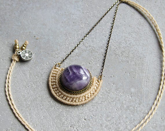 O r ü n . Amethyst . Modern Macrame Brass Necklace . Jewelry © Design by .. raïz ..