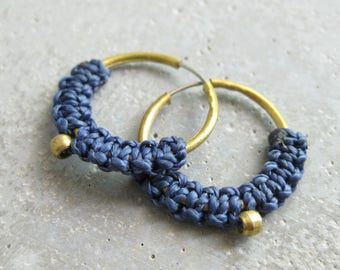 Small Brass Hoops Blue Fiber Earrings Jewelry . Micro Macrame . Modern Fiber Textile Jewelry . Design by .. raïz ..