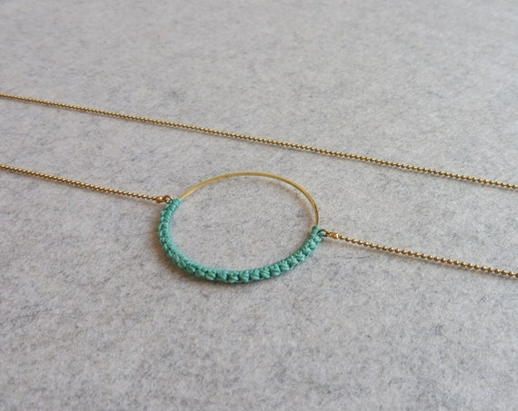 R i O . Circle Hoop Pendant Necklace . Turquoise & Brass  . Modern Fiber Textile Jewelry © Design by .. raïz ..