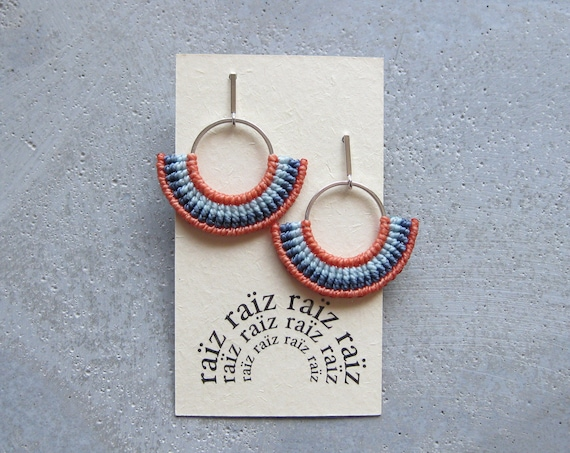 Semi Circle Textile Earrings Silver .  Fiber Hoops . Fan Earrings . Macrame Earrings . Coral Earrings . Design by .. raïz ..