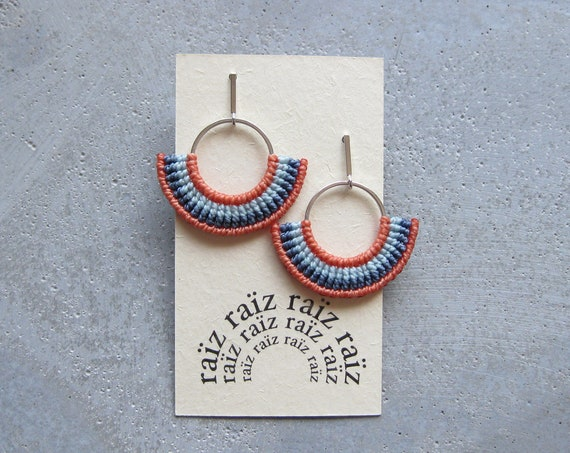 Semi Circle Textile Earrings Silver .  Fiber Hoops . Fan Earrings . Macrame Earrings . Coral Earrings . Design by .. raïz ..