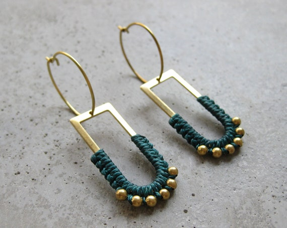 B ï a . Brass Hoop Earrings with Beaded Charm . Modern Fiber Jewelry © Design by .. raïz ..