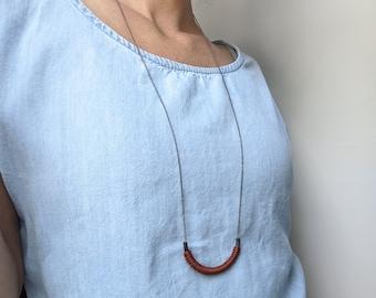 Tube Pendant . Minimalist Fiber Necklace . Black & Silver . Modern Macrame Jewelry . Textile Jewelry . Design by .. raïz ..
