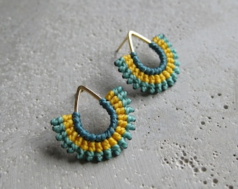 Teal and Yellow Textile Teardrop Stud Earrings . Gold . Fiber Jewelry . Micro Macrame . Geometric Fan Earrings . Design by .. raïz ..