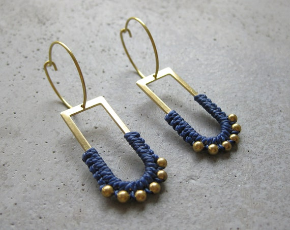 B ï a . Brass Hoop Earrings with Beaded Charm . Modern Fiber Jewelry © Design by .. raïz ..