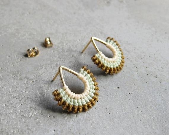 I B E Y I . Modern Micro Macrame Earrings . Teardrop Studs . Contemporary Fiber Jewelry . Made in Canada . © Design by .. raïz ..