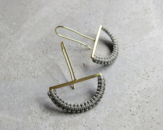 O L G A . Brass Semicircle Dangle Earrings w/ Gray Fiber Detail . Modern Macrame Textile Jewelry © Design by .. raïz ..