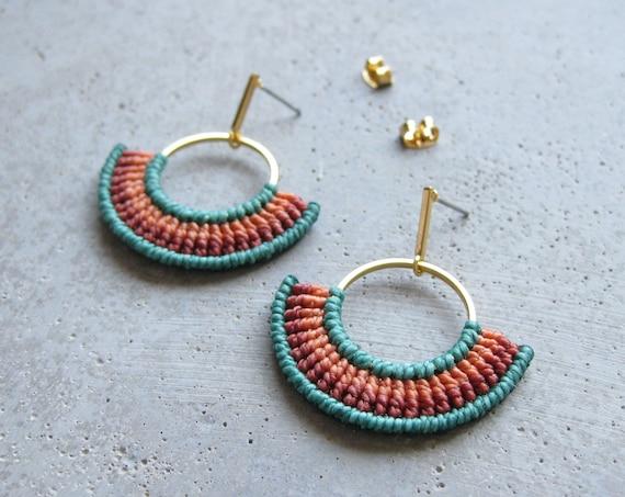 Modern Textile Earrings . Tropical Gold Coral and Teal . Fiber Hoops . Semi Circle . Geometric Macrame Earrings . Design by .. raïz ..