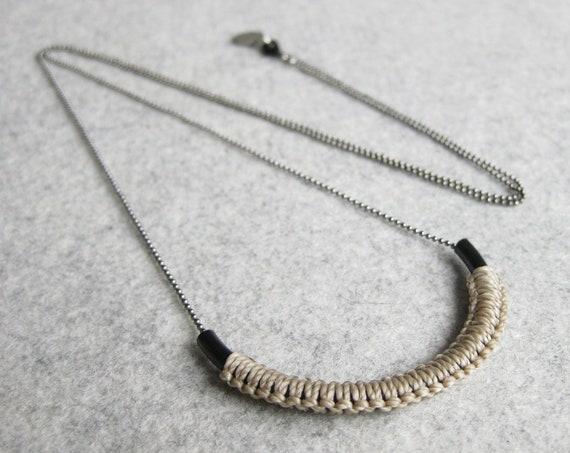 V A R O A . Tube Pendant on Long Chain with Macrame Fiber Detail . Modern Minimalist Textile Jewelry . © Design par .. raïz ..