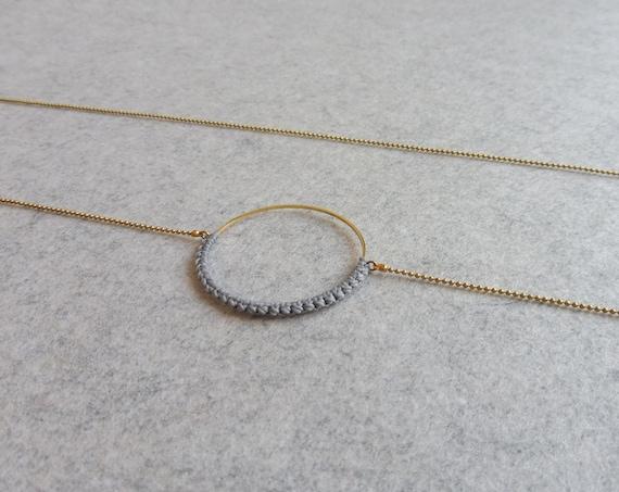 R i O . Circle Hoop Pendant Necklace . Grey & Brass  . Modern Fiber Textile Jewelry © Design by .. raïz ..