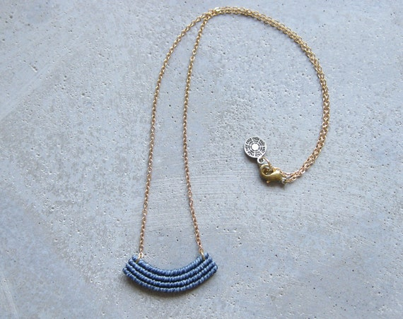 Small Macrame Necklace in Blue . Gold Brass Chain . Modern Textile Jewelry . Fiber Minimalist . Crescent Necklace . Design by .. raïz ..