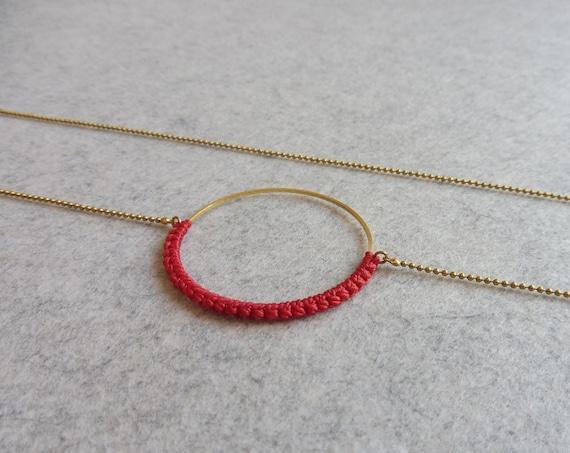 R i O . Circle Hoop Pendant Necklace . Poppy Red & Brass  . Modern Fiber Textile Jewelry © Design by .. raïz ..