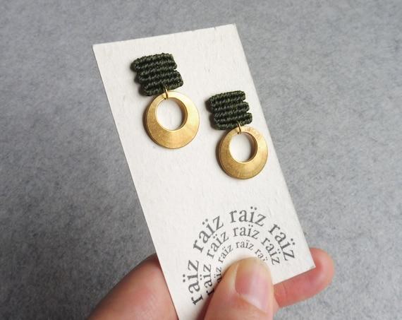 L u a . Stud Earrings in Khaki Green with Circular Brass Adornment . Modern Fiber Textile Jewelry.  © Design by .. raïz ..
