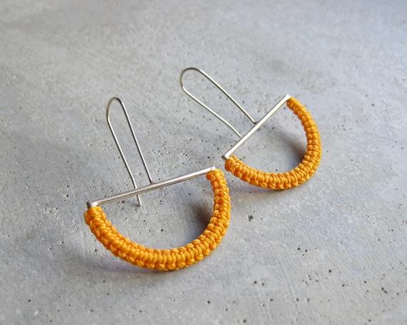 O L G A . Sterling Silver . Yellow . Modern Macrame Textile Jewelry © Design by .. raïz ..