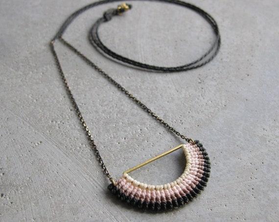 I N T I . SemiCircle Pendant . Modern Macrame Jewelry . © Design by .. raïz ..