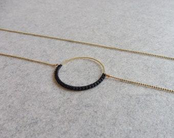 Black Circle Hoop Necklace . Round Brass Pendant . Minimalist Modern Macrame . Textile Jewelry . Crochet Fiber Jewelry . Design .. raïz ..
