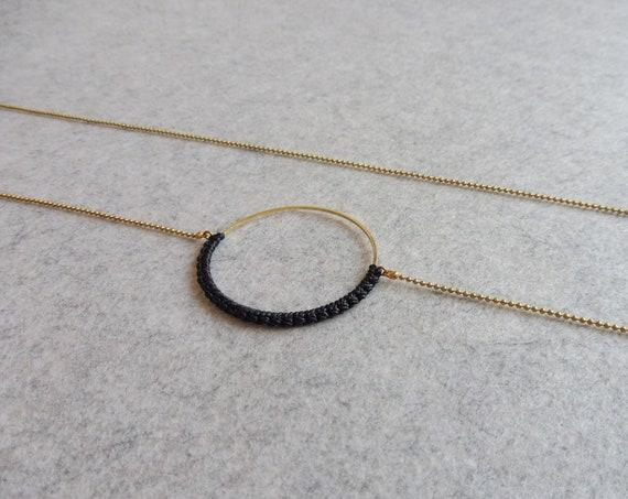 R i O . Circle Hoop Pendant Necklace . Black & Brass  . Modern Fiber Textile Jewelry © Design by .. raïz ..