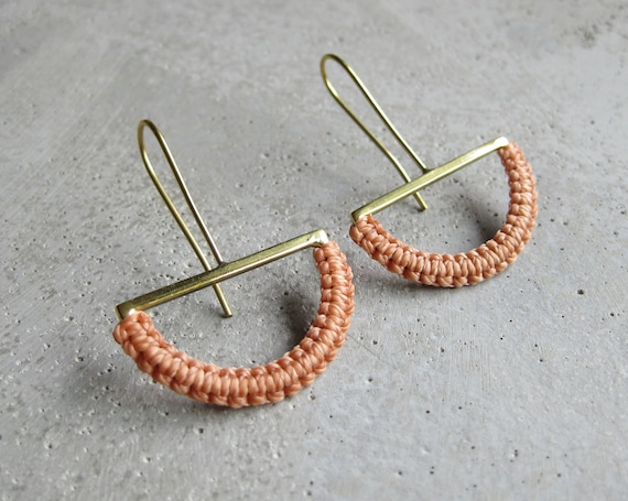 O L G A . Semicircle Brass Dangle Drop Earrings . Textile Fiber Jewelry . Modern Macramé Jewelry © Design by .. raïz ..
