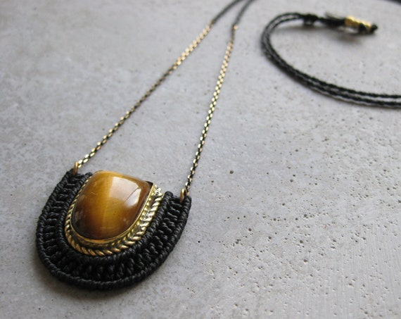 O r ü n . Tiger Eye . Brass & Fiber Adjustable Pendant . © Design by .. raïz ..