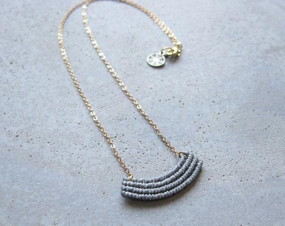 Cute Textile Necklace in Gray . Gold Brass Chain . Modern Macrame Jewelry . Fiber Minimalist . Crescent Necklace . Design by .. raïz ..