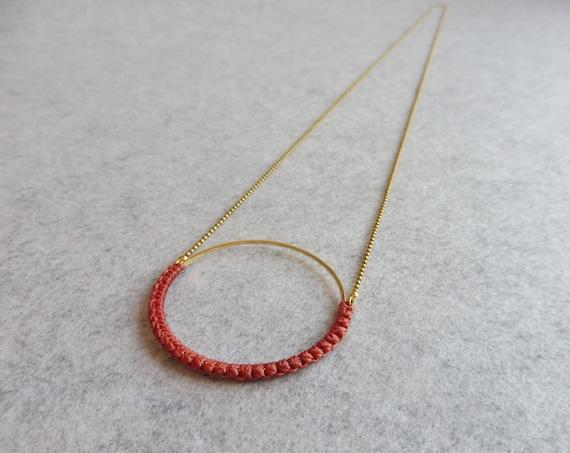 R i O . Circle Hoop Pendant Necklace . Terracotta & Brass  . Modern Fiber Textile Jewelry © Design by .. raïz ..