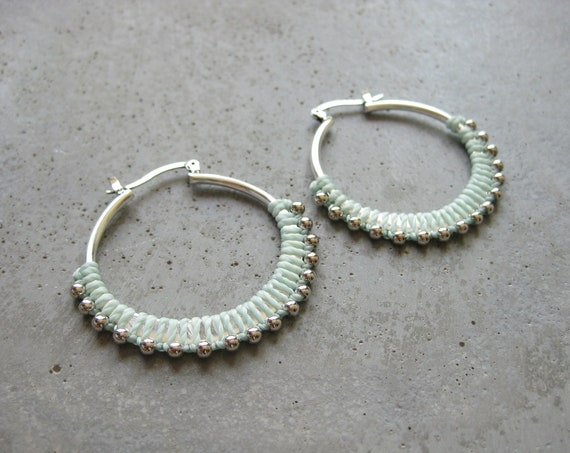 C A L Y P S O . Frosty Mint . Silver Plated Fiber Hoop Earrings . Textile Jewellery . Boho Earrings Jewelry . Design by .. raïz ..