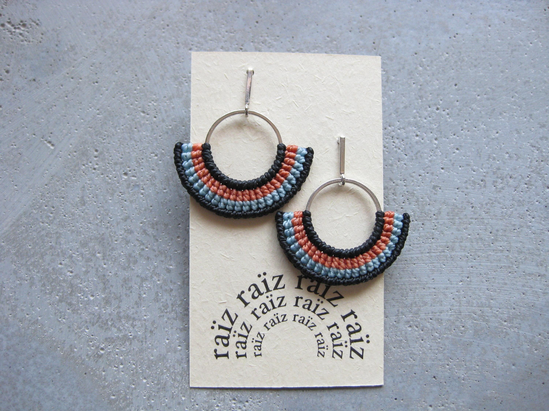 d979699f8f606 Textile Earrings Hoops Semi Circle . Fan Earrings . Macrame Earrings ...