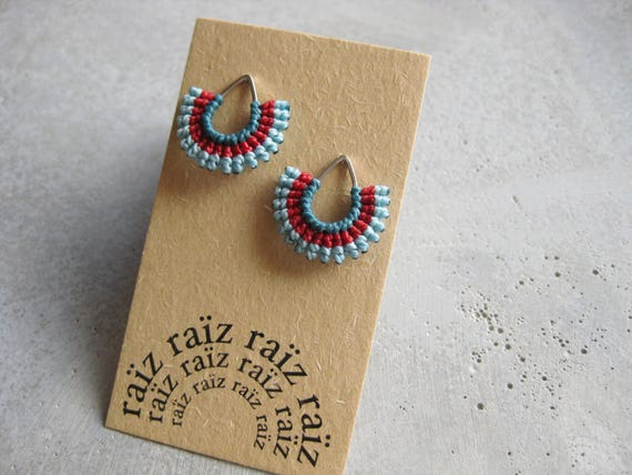 I b e y i . Textile Silver Teardrop Stud Earrings . © Design by .. raïz ..