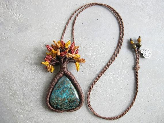 Tree of Life Necklace . Chrysocolla . Botanical Fiber Jewelry  . © Design by .. raïz ..