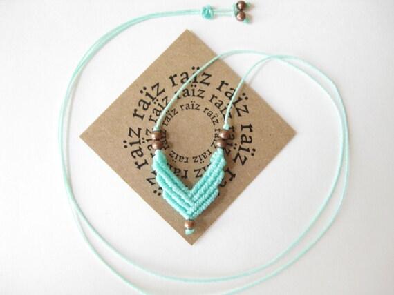 Small Chevron Necklace . Micro Macrame . Turquoise Adjustable Pendant . Modern Elegant Dainty Geometric Jewelry Boho Chic
