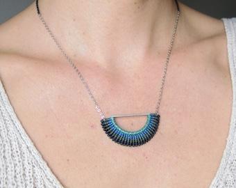 SemiCircle Textile Necklace . Blue Necklace . Fiber Jewellery . Half Circle Necklace . Design by .. raïz ..