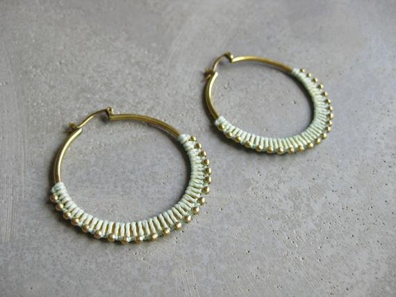 C A L Y P S O . Aqua Brass Hoop Earrings . Fiber Jewelry . Textile Jewellery  © Design by .. raïz ..