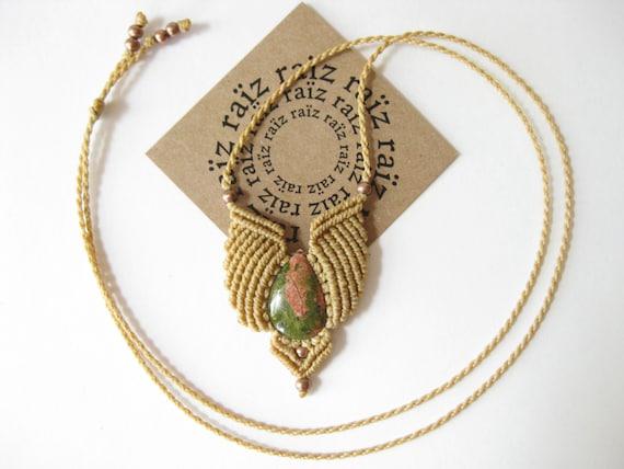 Dainty Macrame Pendant w/ Unakite Stone . Earth Tones . Micromacrame Necklace Quartz Jewelry . Hippie Chic Woodland Reiki Yoga . by raiz