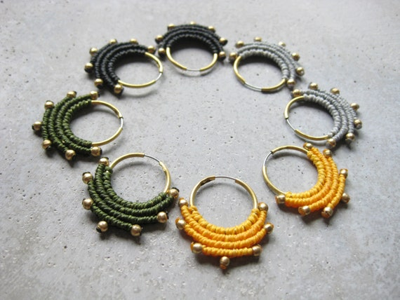 Z U A . Textile + Brass Hoop Earrings . Modern Fiber Jewelry . Macrame Jewelry . © Design by .. raïz ..