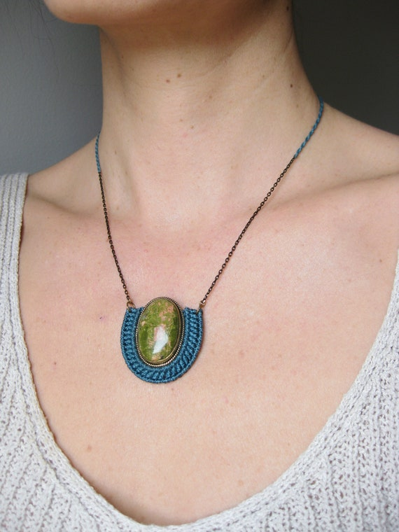 O r ü n . Unakite . Brass & Fiber Adjustable Pendant . © Design by .. raïz ..