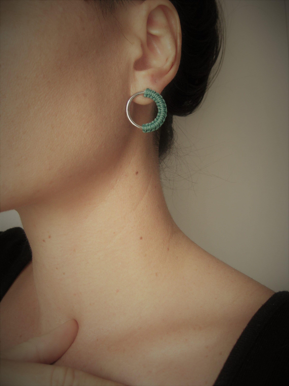 Poppy Red Red Circle Stud Earrings Gold or Silver Minimalist Geometric Macram\u00e9 . ra\u00efz .. Hoop Stud Earrings Modern Fiber Jewelry