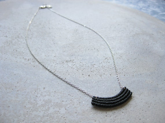 Minimalist Macrame Necklace in Black . Silver Chain . Modern Textile Jewelry . Fiber Metal . Crescent Necklace . Design by .. raïz ..