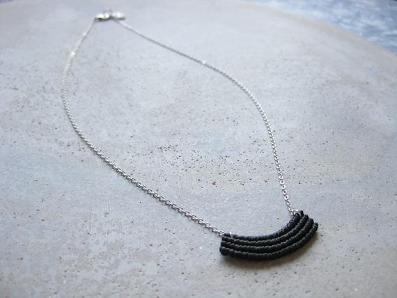 Minimalist Macrame Necklace in Black . Silver Chain . Modern Textile Jewelry . Fiber Metal . Crescent Necklace . Design by .. raïz ..