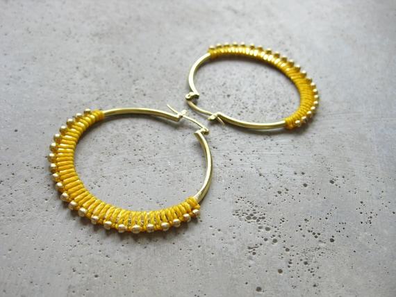 C A L Y P S O . Yellow Brass Hoop Earrings . Fiber Jewelry . Textile Jewellery  © Design by .. raïz ..
