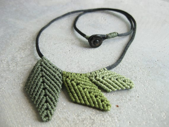 Leaf Necklace .Sage Tones . Micro Macrame Design by .. raïz ..