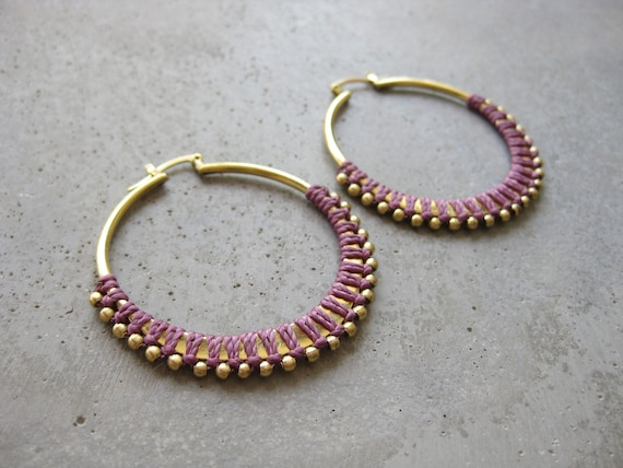 C A L Y P S O . Mauve Brass Hoop Earrings . Fiber Jewelry . Textile Jewellery  © Design by .. raïz ..
