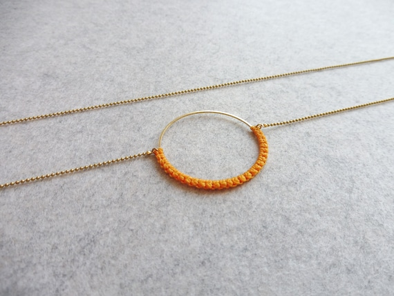 R i O . Circle Hoop Pendant Necklace . Yellow on Brass  . Modern Fiber Textile Jewelry © Design by .. raïz ..