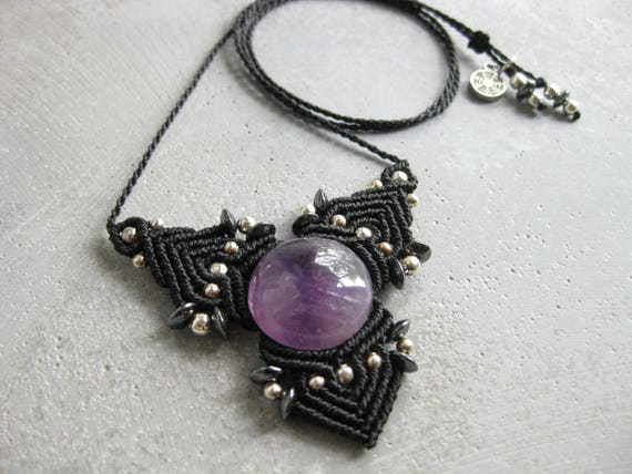 Faërie . Amethyst Micro Macrame Necklace . © Design by .. raïz ..