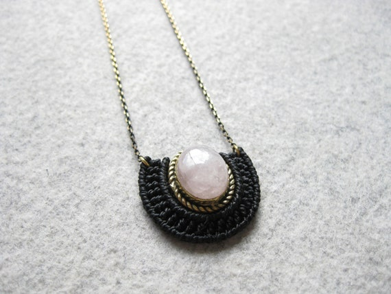 Mini O R Ü N Necklace . Rose Quartz  Stone set in Brass .  Micro Macrame Jewelry . . Design by  .. raïz ..