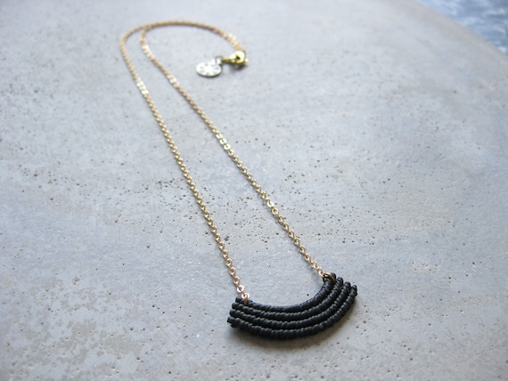 Minimalist Macrame Necklace in Black . Gold Brass Chain . Modern Textile Jewelry . Fiber Metal . Crescent Necklace . Design by .. raïz ..
