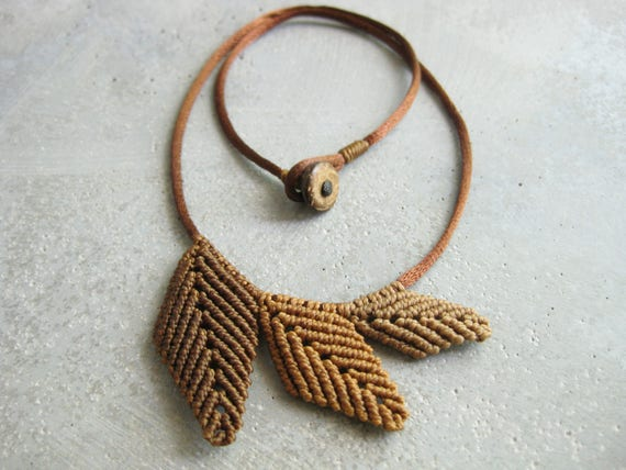 Autumn Leaves Necklace . Textile Jewelry Micro Macrame . Design by .. raïz ..